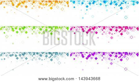 White banners set with colour rhombus pattern. Vector paper illustration.