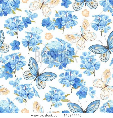 Seamless pattern with flowers phlox, butterflies blue and yellow colors. Rustic vector illustration in vintage style on white background.