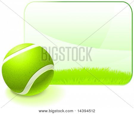 Tennis Ball with Blank Nature Frame Original Vector Illustration