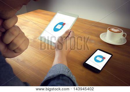 Email Icon On Digital Tablet, Coffee Desktop