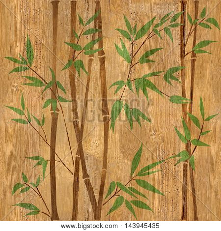 Decorative bamboo branches - seamless background - Interior Design wallpaper - wood texture