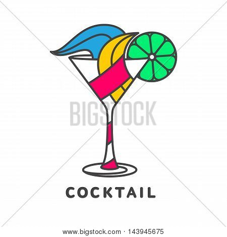 colorful abstract cocktail logo, vector illustration isolated on white background.