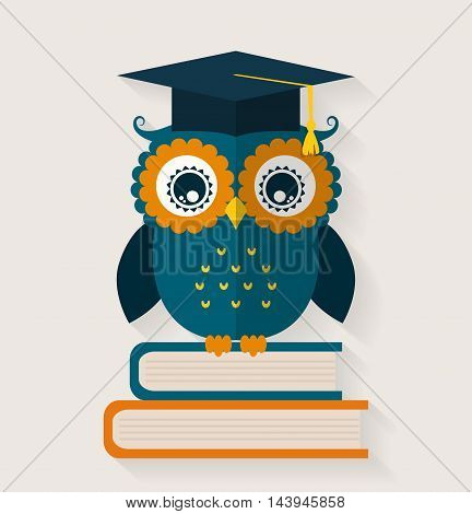 Wise owl in graduate cap sitting on the books. School and education themes. Flat design. Vector illustration.