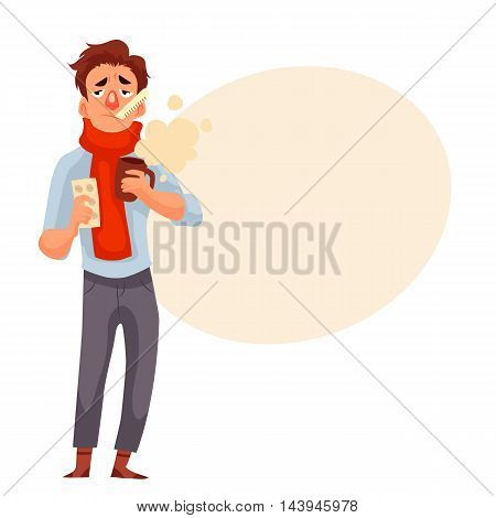 Young man having a cold, holding medicines and a cup, cartoon style illustration isolated on white background. A guy in red scarf with thermometer in his mouth, winter flu season