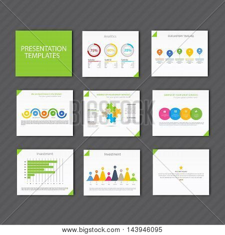 Set of infographic Presentation Template , Infographic Element , Business infographic , Layout design , Modern Style , Vector design illustration. Green version