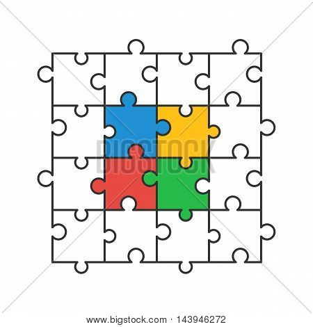 Colored and line puzzle pieces. Vector illustration