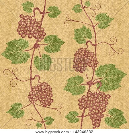 Decorative grape leaves - grape wine background - seamless background - White Oak wood texture