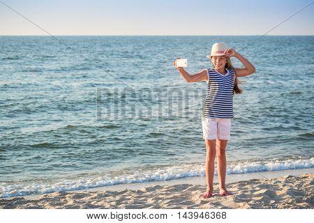 Teenage Girl Making A Selfie