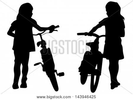 Sport child whit bike on white background