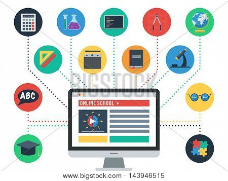 Concept of online school, E learning. Icons set of web training and study online. Vector icons for distance education for banner, web design or print