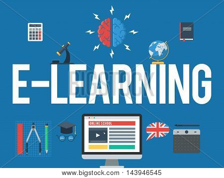Online school, E-learning concept. Web training and study online. Vector icons for distance education for banner, web design or print