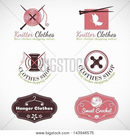 Knitting hanger and crochet vintage Clothes fashion shop logo vector set design