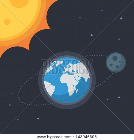 Earth with moon and sun, stars. Concept Vector space banner icons for online  web design or print