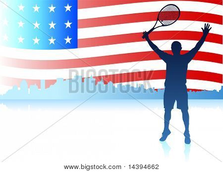 Tennis Players with United States Flag Background Original Vector Illustration