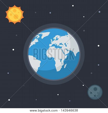 Earth with sun, moon, stars. Concept Vector space banner icons for online  web design or print