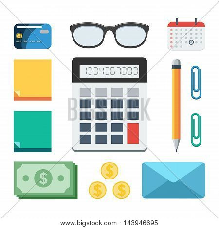 Business and finance set: calculator, money, paper, glasses, calendar, pen, credit card, envelope. Concept vector illustration in flat style design for web design banner on site or print