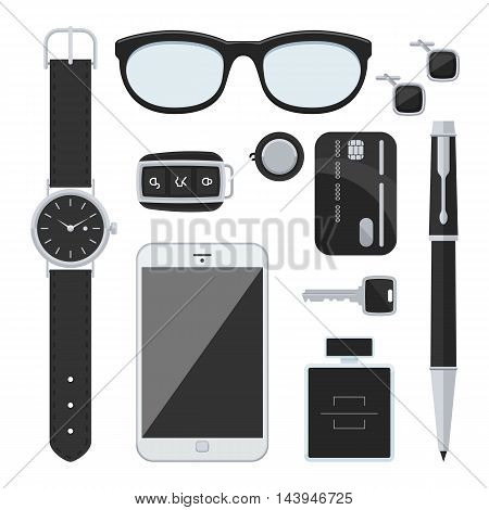 Gentlemanly set: car keys, sunglasses, watch, credit card, mobile, pen, perfume and cufflinks. Top view sign. Vector icon isolated on white background