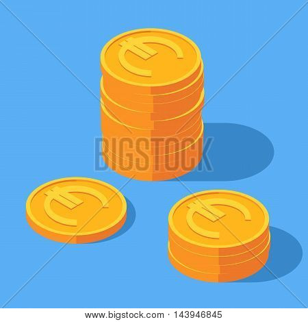 Gold stack of euro coins. Money icon in isometric style. Business and finance concept. Vector illustration sign on a blue background