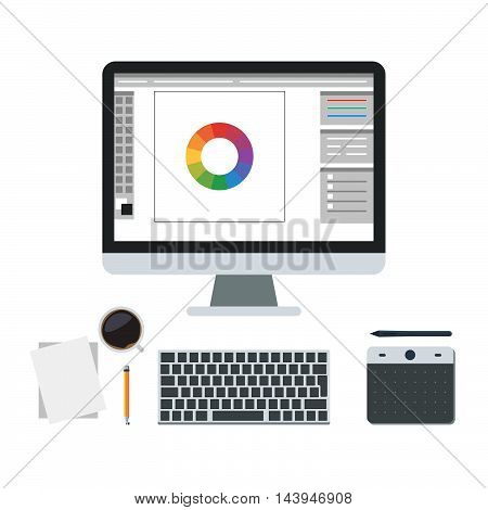 Graphic design of workplace, Studio web design, digital graphic editor. Tools for drawing, coffee cup, draw pen tablet, computer monitor. Flat design vector illustration of modern creative design concept, for web banner and advertising material