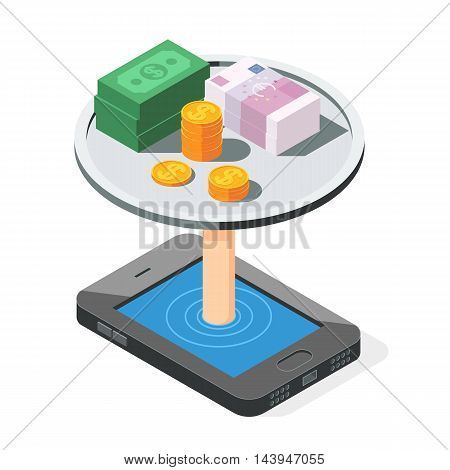 Smartphone cash money and gold coins, dollar and Euro. Mobile banking and online payment concept.  Vector illustration flat Isometric design isolated