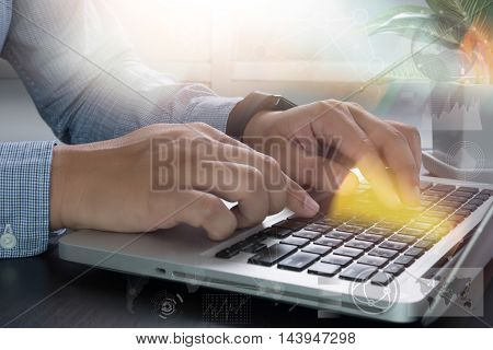 Business Man Hand Working With Digital Business Laptop