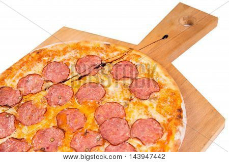 hot pizza with salami isolated on white background