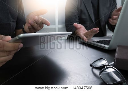 Cropped Shot  Man's Hands Using A Laptop At Home, Rear View Of Business Man Hands Busy Using Laptop