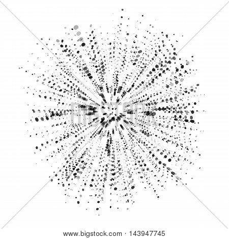 Explosion, burst shape, radial dust effect, radiating sharp ink splat. Vector illustration isolated on white background
