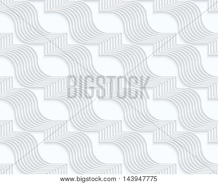 Quilling White Paper Diagonal Wavy Ribbons