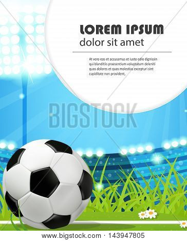 Soccer ball on stadium field. Abstract sport background