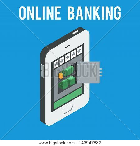 Safe with money and gold coins on the phone screen. Mobile banking and online payment concept.  Vector illustration flat Isometric design isolated