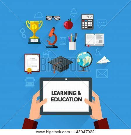 Hands holding a tablet and set of objects that symbolize science and knowledge. Learning and education concept flat style illustration for web design layout banner diagram infographics.