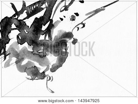 Horizontal raster illustration on white watercolor paper. Black liquid ink splashes daub and smears decorated with lines and freehand graphic. Hand drawn template good for presentation cover or print.