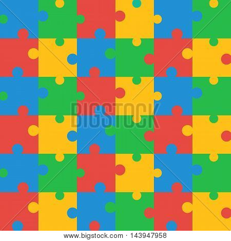 Seamless Brightly Colored Puzzle Pattern. Vector illustration for background design