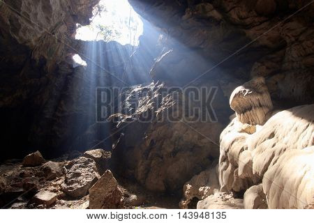 Beautiful sun beam in cave at Phetchaburi Province