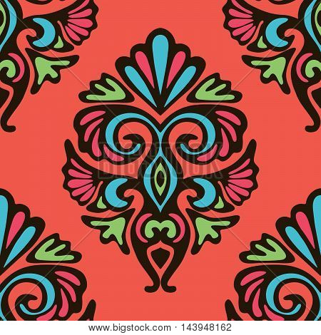 Damask vector floral abstract seamless pattern design