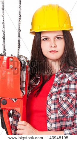 Girl lumberjack with chainsaw isolated on white background