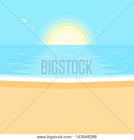 Sunset in the ocean. Sea, clean sandy beach landscape. Vector illustration in flat design style