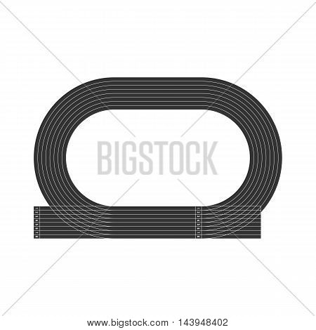 Top view of running track sign isolated on white background. Sport stadium. Vector illustration icon