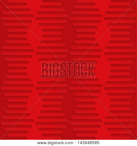 Red Hexagonal Waves On Checkered Background
