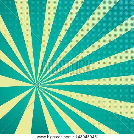Colored Pop-Art Style blue background Llichtenstein pop art. Pop art comic backdrop sunlight sun ray space. Funny halftone comics book background template. Vector illustration