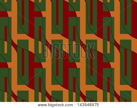 Retro 3D Orange And Red Wavy With Green Rectangles