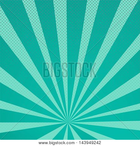 Colored Pop-Art Style blue background Llichtenstein pop art. Pop art comic backdrop sunlight sun ray space. Funny halftone comics book background template. Vector illustration