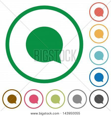 Set of chat color round outlined flat icons on white background