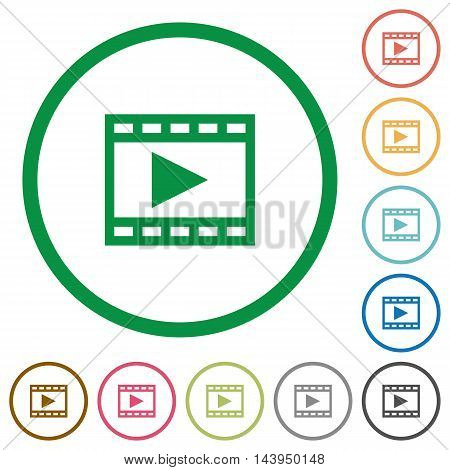 Set of play movie color round outlined flat icons on white background