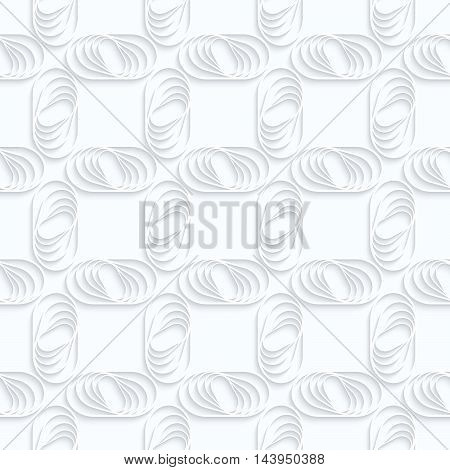 Quilling White Paper Ovals With Stripes In Grid