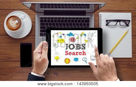 Businessman Internet Online Job Search Application Concept