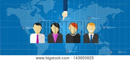 Ad hoc selected special team of people group employee selection recruitment world wide online