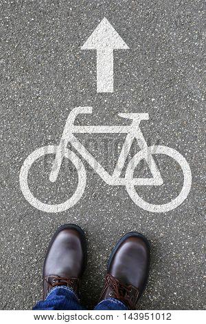 Man People Bike Lane Path Way Bicycle Road Traffic
