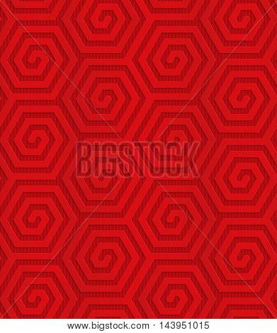 Red Diagonal Hexagonal Spirals